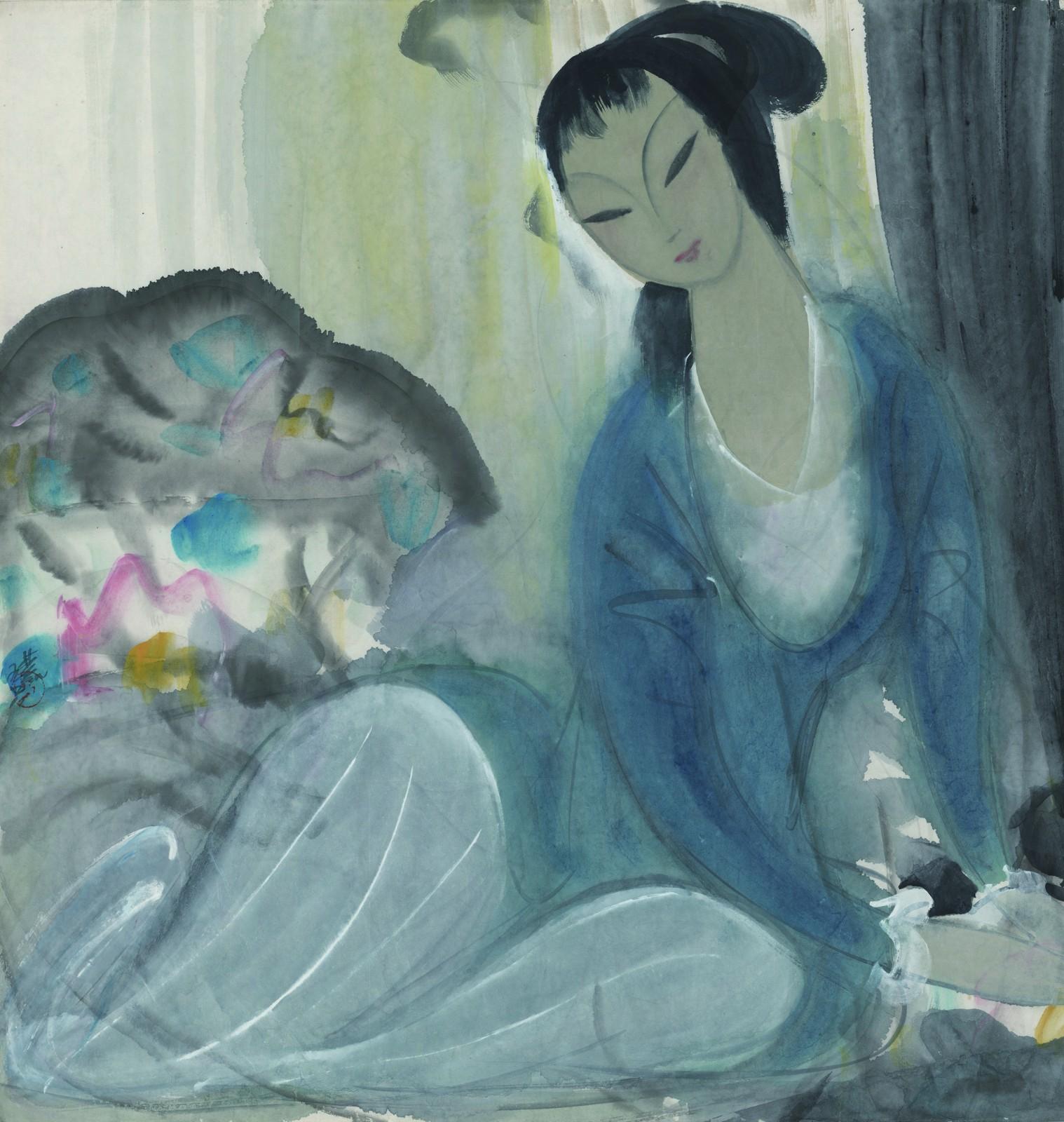 16 林风眠《绿衣仕女》69×66cm 1950年  中华艺术宫藏.jpg