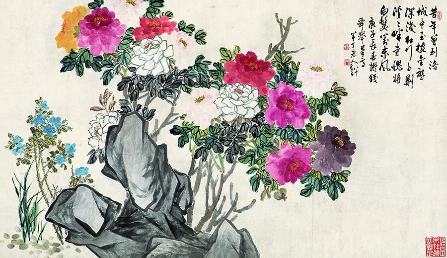 牡丹月季,陈半丁96cm×165cm,1962年,北京画院藏.jpg