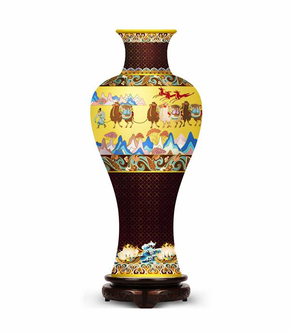 作者:北京大道造物文化发展有限公司   作品:一路繁荣       尺寸:17x 17 x 38cm      材质:紫铜、珐琅釉.jpg