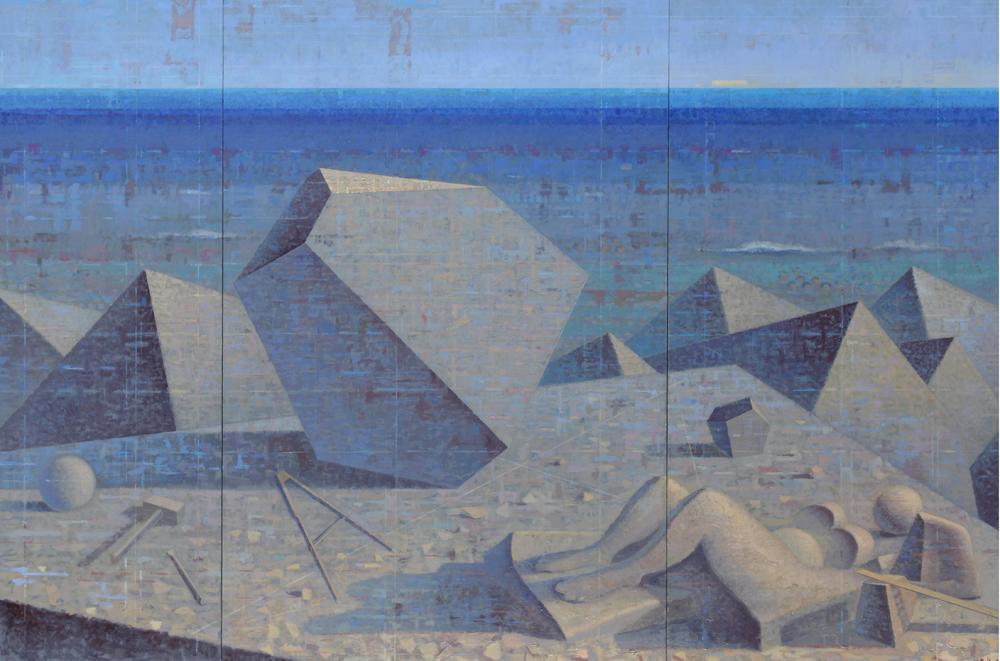 (JpegAR)Melanconia-Frammenti - olio tavola - cm 150x225 - 2011 - (Bienn.Venezia).jpg