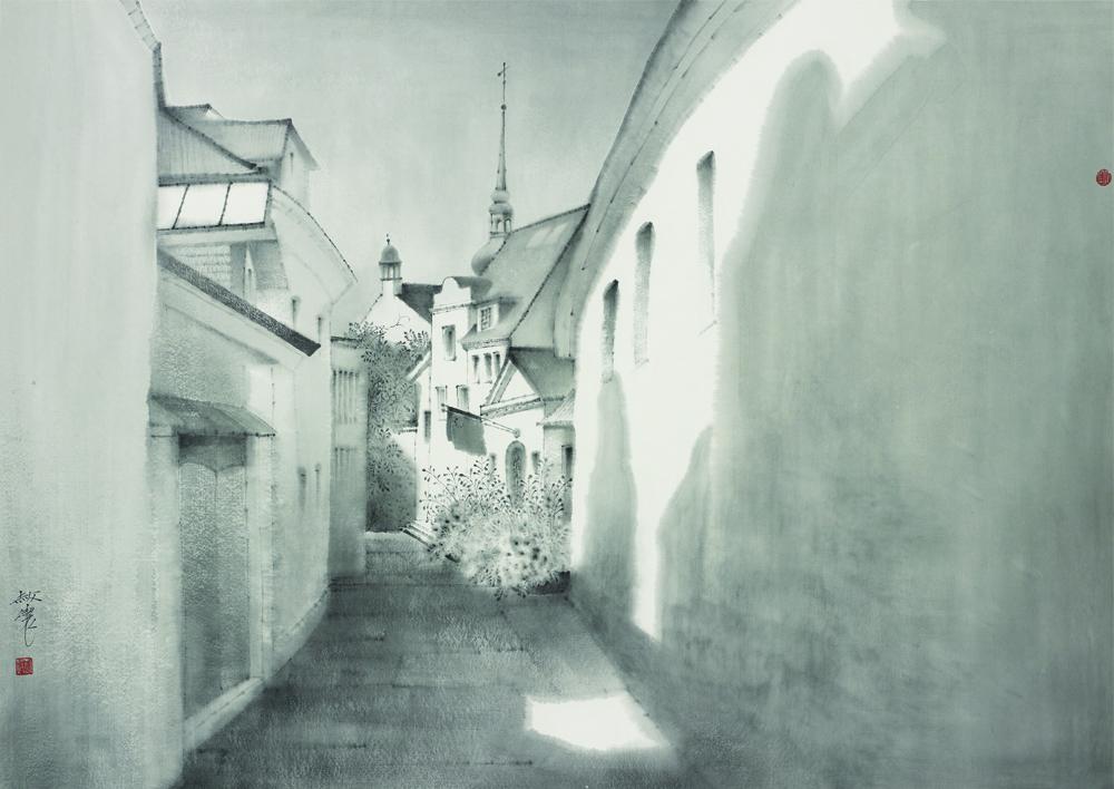 2013《斯洛伐克教堂》纸本水墨100x70cm.jpg