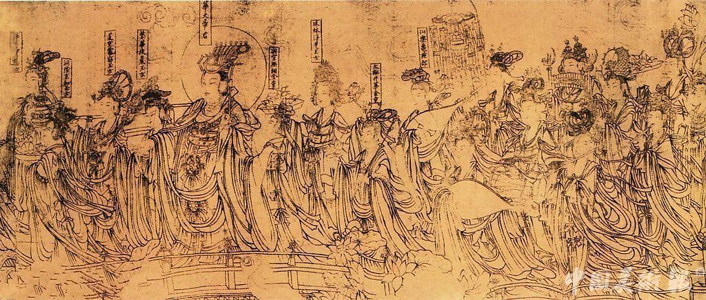 唐朝文人雕塑手绘